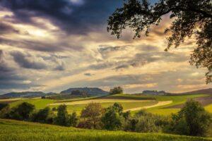 fields, hill, sunset